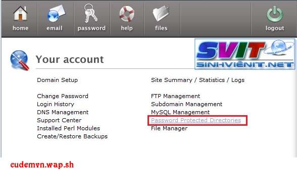 Hướng dẫn Đặt mật khẩu bảo vệ File và Thư mục bằng PassWord Protect trên hosting CPanel 11 và DirectAdmin
