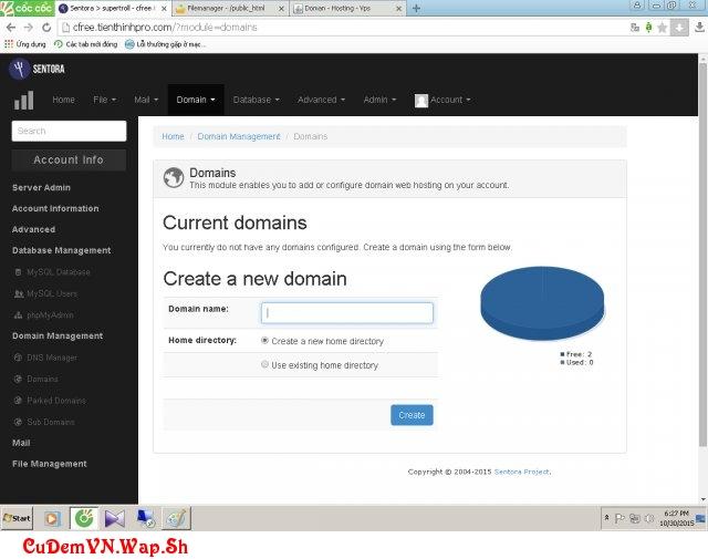 Hướng dẫn sử dụng hosting Sentora chi tiết bằng hình ảnh