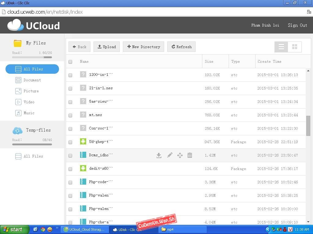 Hướng dẫn truy cập hệ thống quản lí tập tin UDisk của UC Browser trên PC