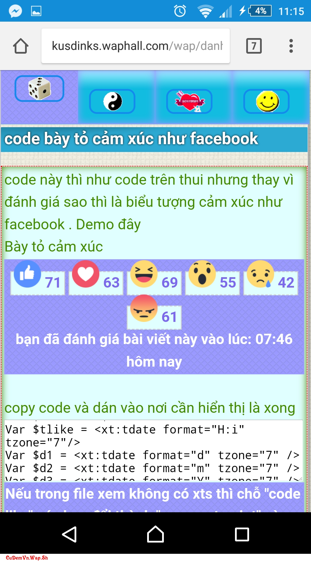 Share code đánh giá Like, Dislike. Reaction Facebook lưu bằng cookie với xtcat Xtgem