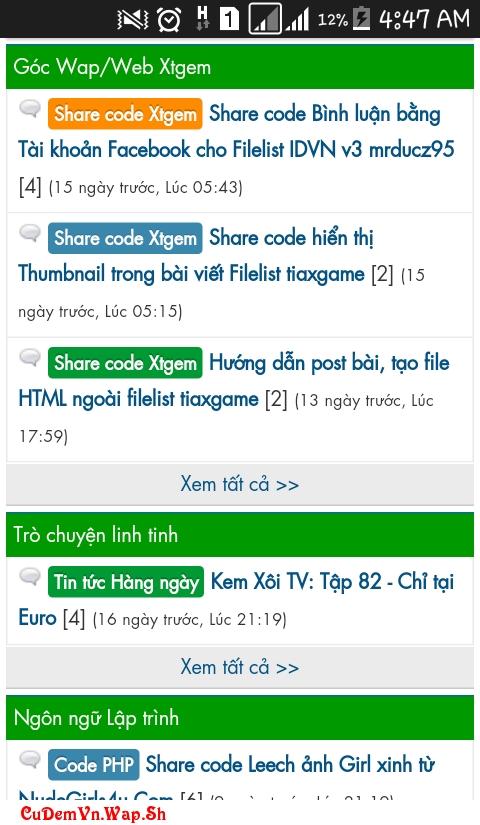 Share code Diễn đàn trên Xtgem Full chức năng cực chất GetSmile.Mobie.In bởi Cú Đêm Việt Nam