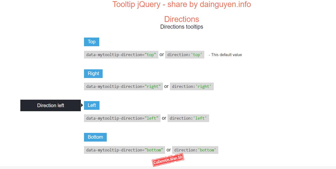 Share code Hiệu ứng tooltip jQuery cực đẹp rất nhiều kiểu cho bạn lựa chọn