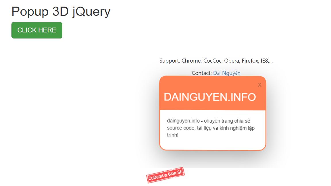 Share code hộp thoại Popup 3D viết bằng jQuery miễn phí