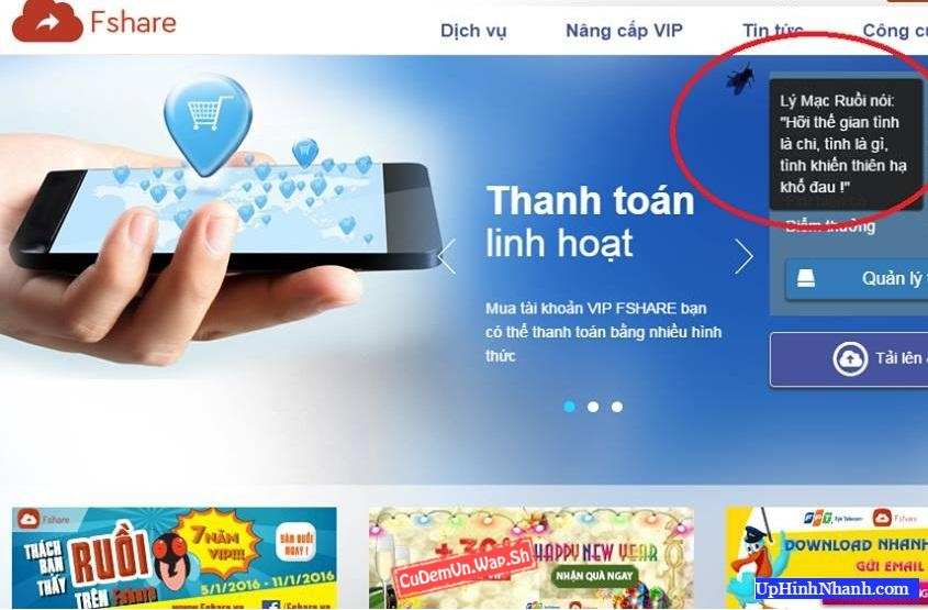 Share code Ruồi Fshare, trò chuyện với Ruồi vui nhộn trên Wap/Web