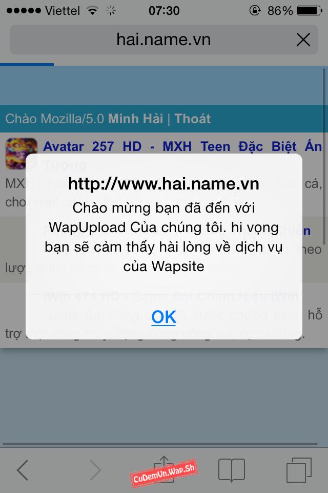 Share code Thông báo khi vào Wap dạng JavaScript