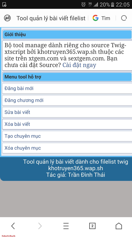 Share full code PHP bộ tool cài đặt và quản lý Filelist KhoTruyen365 Xtgem